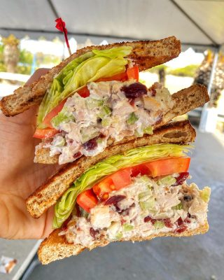 Our turkey salad sandwich is tossed with cranberries, walnuts, and celery then served up with lettuce and tomato on cinnamon raisin toast. Grab it and go or sit down to breakfast, lunch, or brunch with a friend 🍽 . . . #sandwich #turkey #salad #foodfeed #feastagram #forkyeah #nomnom #foodporn #socal #delicious #feedme #foodheaven #buzzfeed #hypefeast #instafood #foodfeed #tryitordiet #foodfeed #cheatmeal #foodhunting #munchies #cheatday #chowtime #foodiegrams